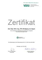 Zertifikat VDSI